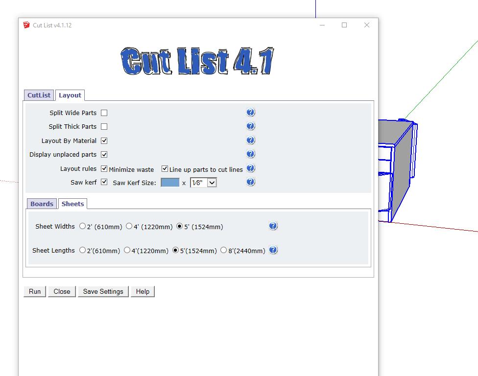 Sketchup Cutlist help?